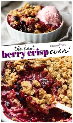 Healthy Dessert Recipes 160018592996532383 - This Berry Crisp Recipe is a classic, foolproof EASY mixed berry dessert. Sweet, tart berries are layered underneath a buttery, crunchy topping. Perfect with a scoop of ice cream or all on its own. Köstliche Desserts, Healthy Dessert Recipes, Easter Desserts, Easy Recipes, Mixed Berry Crisp, Mixed Berries, Fruit Crisp Recipe, Recipe Berry, Vegan Berry Crisp Recipe