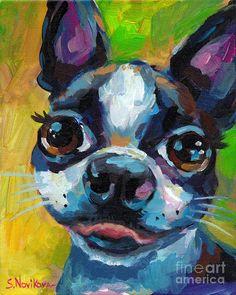 Cute Boston Terrier Puppy by Svetlana Novikova Colorful Animal Paintings, Colorful Animals, Boston Terrier Love, Boston Terriers, Dog Pop Art, Dog Artwork, Cute French Bulldog, Bulldog Puppies, Pet Portraits