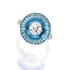 Diamond and Blue Topaz Ring, Wallace Chan
