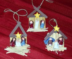 we always do a christmas in july day.j aslice Childrens Christmas Crafts, Kids Christmas Ornaments, Nativity Ornaments, Nativity Crafts, Preschool Christmas, Christmas Nativity, Christmas Art, Christmas Projects, Christmas Tree Decorations