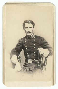 "Photograph of Meriwether Jeff Thompson, the ""Swamp Fox of Missouri"" (and inventor of an interesting protractor model), in military attire, William Emerson Strong Photograph Album, David M. Rubenstein Rare Book & Manuscript Library, Duke University."