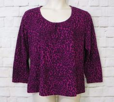Womens Plus JMS Purple Animal Print Scoop Neck Pleated Chest Knit Top SZ 1X 16W #JMS #KnitTop #Casual