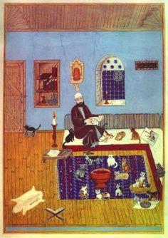 Fasîh Dede, hücresinde kedileri ile birlikte... Kendisini resim yaparken resmetmiş üstelik.