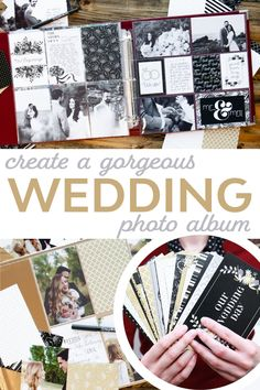 How to Create a Personalized Wedding Photo Album Project Life Wedding, Project Life Album, Scrapbooking 101, Scrapbook Pages, Wedding Photo Albums, Wedding Photos, Wedding Ideas, Camera Shots, Wedding Scrapbook