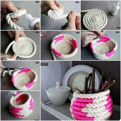I saw this nice DIY coiled rope basket picture circling around. With some digging, I found the tutorial from design sponge. This lovely rope basket is good to Diy And Crafts Sewing, Crafts To Sell, Diy Crafts, Organizing Crafts, Rope Basket, Basket Weaving, Diy Y Manualidades, Rope Crafts, Craft Wedding