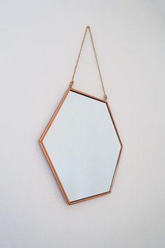 Medium size hexagonal copper mirror
