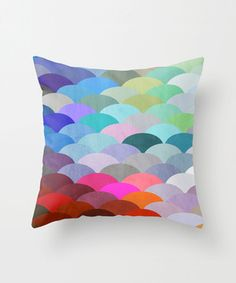 rainbow fish scale pillow
