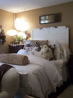Master bedroom at Monica's. Beautiful bed in brown and white (from Cherry Hill Cottage)