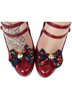 Pin-Up Girl Navy Strawberry Clip On Shoe Bows