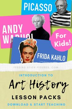 LITERALLY PERFECT for my substitute teacher. I loved introducing this to my primary school art students. Just perfect! Art Projects For Teens, Art Activities For Kids, School Art Projects, Project Ideas, Art History Lessons, History Projects, Art Lessons, Famous Artist Quotes, Famous Artists