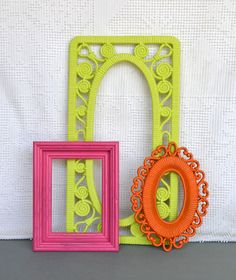 Bright Pink Lime Green Orange Funky Frames Set of 3 - Upcycled painted frame collection.. great for Gallery Wall Teen Girl Kids Bedroom
