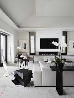 Living room Modern Living Room Design in Black & White with Abstract Art New Couch Cover Elegant Living Room, Living Room White, White Rooms, Living Room Modern, Living Room Interior, Home Living Room, Living Room Ideas Black And White, Living Room Contemporary, Monochromatic Living Room