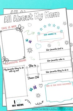 Help your kids create a special memory to give for Mother's Day with this free All About My Mom Printable for Kids. Complete it together for a fun activity! Mother's Day Coupons, Mother's Day Printables, Activity Sheets For Kids, Mother's Day Activities, Cute Kids Crafts, Craft Free, Coloring Pages For Kids, Kids Coloring, Toddler Preschool