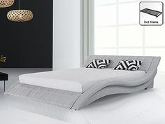 Beliani Vichy - Bed - grijs - 180 x 200 cm Luxury Homes Interior, Interior Design, Living Room Modern, Living Rooms, Bed Design, Bedroom Furniture, New Homes, Couch, Contemporary