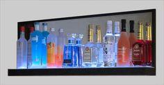 LED Lighted Liquor Bottle Shelf Displays - LED Mirror Shelf Mirror With Shelf, Led Mirror, Bar Shelves, Display Shelves, Home Theater, Theatre, Drinks Cabinet, Liquor Bottles, Bar Ideas