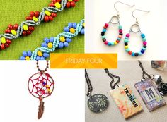 SoftFlexGirl: Friday Four - ZigZag Bracelet, Seed Bead Earrings, Dream Catcher Pendant, Mod Podge Necklaces