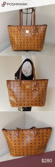 a2386b0af4d01 MCM Brown Zipper Top Bag with Bone Preowned Authentic Brown Bag with Bone  Keychain No dustbag