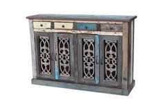 One Kings Lane - The Life Exotic - Roma Cabinet--reclaimed wood and various colors of chippy/weathered finishes