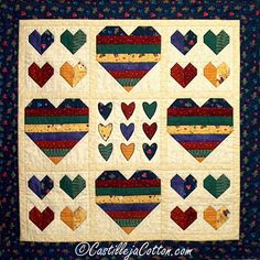 Capricious Hearts Quilted Wall Hanging - /// Shop for Valentine's Day at our TAFA Market: http://www.tafaforum.com/market/holidays/ /// Castilleja Cotton