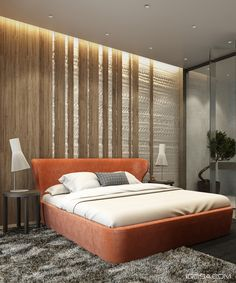 Wood and texturr bedroom wall in an apartment in Minsk, Ukraine designed by Nikita Ryazho