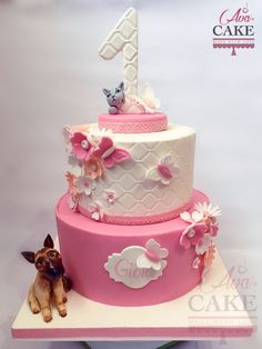 Pink Baby Cake with dog, cat and flowers