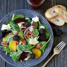 Spinach & Roasted Beet Salad with Berry-Balsamic Vinaigrette by lemonsandanchovies: Healthy, summer eating at its best.   #Salad #Beets #Spinach #Healthy