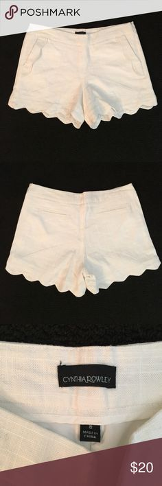 Cynthia Rowley Scalloped Shorts Cynthia Rowley White Scalloped Shorts; size 8; worn once; scallop on the pockets and well as the hem line; zipper on the side Cynthia Rowley Shorts