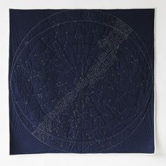 Our throw-sized Constellation Quilt is now available in navy blue! Imaginative and timeless, the project illuminates our connection to the still mysterious universe using traditional craft techniques