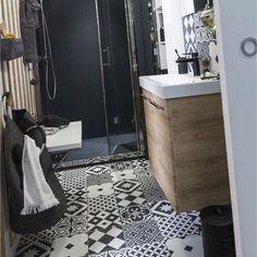 Carrelage intérieur Gatsby ARTENS en grès, noir et blanc, 20 x 20 cm A voir : imitation carreaux de ciment ?