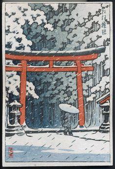 Kawase Hasui: Torii gate in the snow