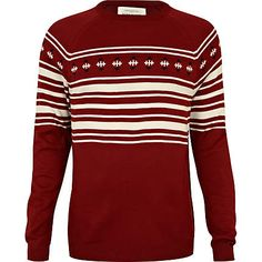 Red various stripe jumper Now $24.00