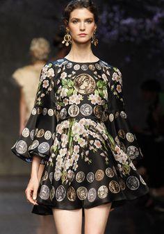 Black Long Sleeve Floral Coins Print Ruffle Dress