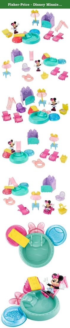 Fisher-Price - Disney Minnie - Sweet Sunny Days. Minnie is adding a pool to her Bow Sweet Home and she's sporting a super cute swimsuit! The Sweet Sunny Days pool pack comes with 13 play pieces for endless days of fun at the pool! Minnie can dive or slide into the pool, relax in the hot tub, lounge on her float or on her lounge chair. She can invite friends for a picnic lunch and at the end of the day shower off in her very own outdoor shower!.