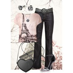 A fashion look from February 2015 featuring print top, bootcut jeans y high heel shoes. Browse and shop related looks.