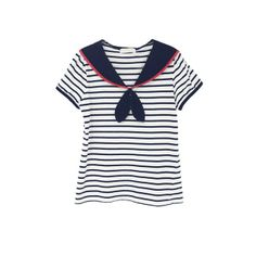 Navy, white and red sailor top via XSSM.  Striped sailor shirt.