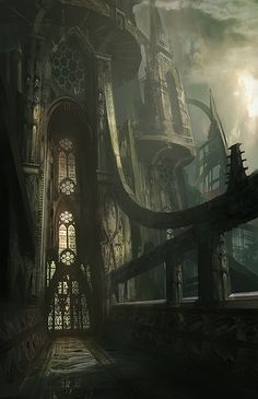 Epic Futuristic Gothic Cathedral - Illustration by James Paick