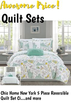 hic Home New York 5 Piece Reversible Quilt Set City Inspired Printed Design Coverlet Bedding - Decorative Pillows Shams Included Size, Queen, Green ... (This is an affiliate link) #quiltsets C