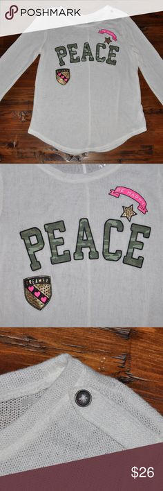 "New JUSTICE Girls Peace Fine Knit Sweater Top NWOT size 14 new without tags color: cream  camo 'Peace' dreamer badge ""be happy' long sleeves fine knit bling embellished  @cjrose25  More kids clothes in my Posh closet. Bundle your likes for a discount & save on shipping. Justice Shirts & Tops Sweaters"