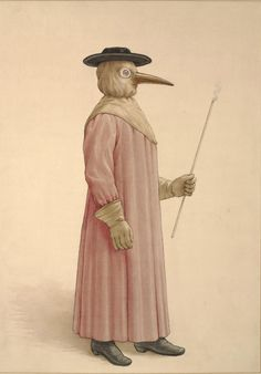 """Wellcome Library, c.1910. """"This watercolor painting depicts the costume worn by physicians attending plague patients in the 17th century. The costume was described by Jean Jacques Manget (1652-1742) in his Traité de la peste (Treatise on the plague), published in Geneva in 1721. The costume's gown was made of morocco leather, underneath which was worn a skirt, breeches, and boots, all of leather and fitting into one another. The long beak-like nose piece was fitted with aromatic substances…"""