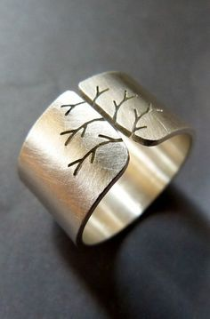 Silver tree autumn ring, wide band metalwork jewelry