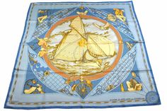 Authentic Excellent HERMES Scarf 100% Silk VOYAGE AU LONG COURS Free Ship 22438 #HERMES #Scarf
