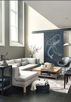 Living Room with chalkboard art
