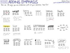 "This entry is part 3 of 11 in the series Sketchnote LessonsIf you emphasize parts of your sketches, you make it easier to review and ""read."" Color, weight, spacing, contrast, underline, depth, highlighter, size, all caps, lettering, reverse, layout, boxes, banners, arrows, icons, stick figures, and other drawings… Have fun! Like this? Check out the …"