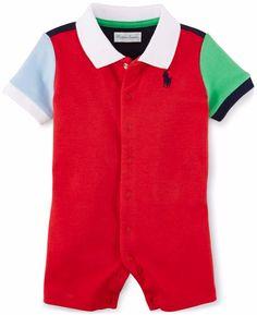 NWT Ralph Lauren Baby Boys Colorblocked Polo Shortall Romper  #RalphLauren #Everyday