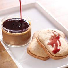 "Peanut butter pots de crème with a shot of red wine ""suicide"" and a..."