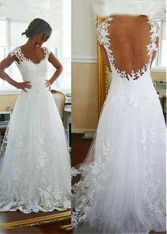 206.80  Amazing Tulle Scoop Neckline A-line Wedding Dresses with Lace  Appliques. Abito Da ... 3d8a1c425fb