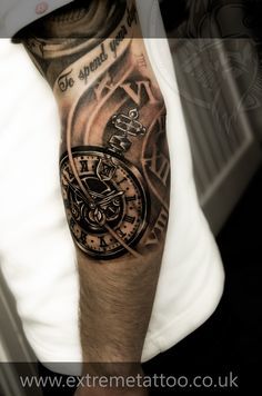 Pocket watch tattoo sleeve in progress,Gabi Tomescu.Extreme tattoo&piercing. Fort William. (Clockwork Pocketwatch somewhere between ankle and knee. Time will be set to 8 minutes past 6. 'Time waits for no man' and shading surrounds)