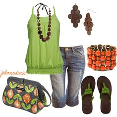 """Brown, Green & Burnt Orange"" by jklmnodavis on Polyvore"