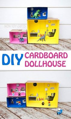 An easy DIY dollhouse that you can make from cardboard boxes. An recycled project to try with kids. Play with dolls, dinosaurs or LEGO people. |at Non Toy Gifts