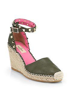 Valentino Leather Rockstud Wedge Espadrille Sandals